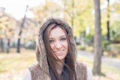 Portrait of beautiful happiness woman autumn style. Stock Photo