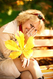 Portrait of the beautiful and happy blonde Stock Images