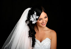 Portrait of the beautiful happy bride stock photography