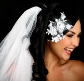Portrait of the beautiful happy bride royalty free stock images