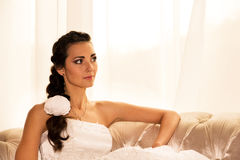 A portrait of a beautiful happy bride Royalty Free Stock Images