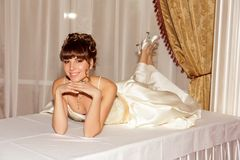 A portrait of a beautiful happy bride Royalty Free Stock Image