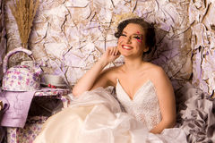 Portrait of a beautiful happy bride Stock Photos