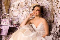 Portrait of a beautiful happy bride Stock Photos