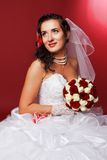 Portrait of a beautiful happy bride stock image