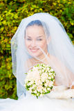 A portrait of the beautiful happy bride under the Royalty Free Stock Images