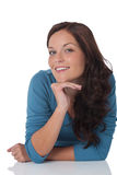 Portrait of beautiful happy brown hair woman Stock Photo
