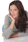 Portrait of beautiful happy brown hair woman Stock Photography
