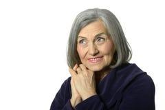 Portrait of a beautiful happy elderly woman Stock Photos