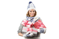 Portrait of beautiful happy girl in sweater hat and mittens with Stock Image