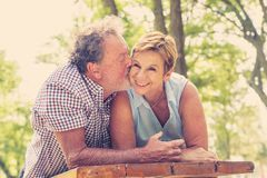 Portrait of a beautiful happy senior couple in love relaxing in the park stock image