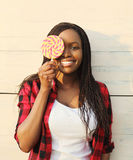 Portrait beautiful happy smiling african woman having fun Stock Images