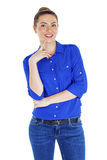 Portrait of a beautiful happy woman in blue shirt Stock Photography