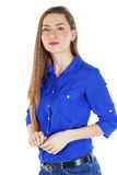 Portrait of a beautiful happy woman in blue shirt Stock Photo