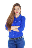 Portrait of a beautiful happy woman in blue shirt Royalty Free Stock Photography