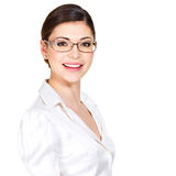 Portrait of the beautiful happy  woman in glasses Royalty Free Stock Images