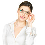 Portrait of the beautiful happy  woman in glasses Royalty Free Stock Photography