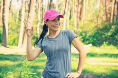 Happy woman in the forest Stock Photography