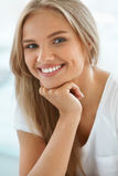 Portrait Beautiful Happy Woman With White Teeth Smiling. Beauty Stock Photography