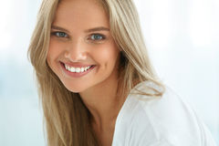 Portrait Beautiful Happy Woman With White Teeth Smiling. Beauty stock image