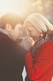 Portrait of a beautiful happy young couple in love stock images