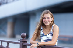 Portrait of Beautiful, happy young girl. Outdoor, summer Royalty Free Stock Photo