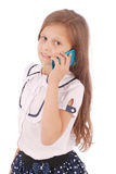 Portrait of beautiful happy young girl talking on smartphone Royalty Free Stock Photo