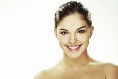 Portrait of beautiful happy young woman Stock Photos