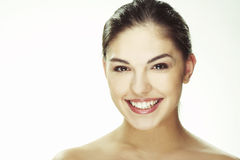 Portrait of beautiful happy young woman. A happy young woman with facial expression on white background Stock Image