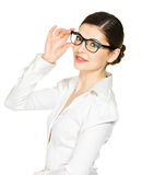 Portrait of the beautiful happy  woman in glasses Stock Image