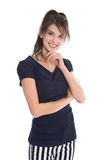 Portrait of a beautiful happy young woman in navy style. Royalty Free Stock Image