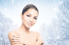 Portrait of a beautiful and healthy girl on the snow Royalty Free Stock Image