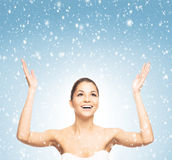 Portrait of a beautiful and healthy girl on the snow Stock Photos