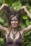 Portrait beautiful hippie girl in nature, close up Royalty Free Stock Photos