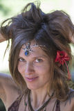 Portrait beautiful hippie girl in nature, close up Stock Images