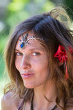 Portrait beautiful hippie girl in nature, close up Royalty Free Stock Image