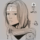 Portrait of beautiful hippie girl Stock Image