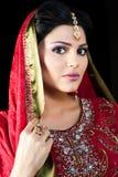 Portrait of a beautiful indian bride. Muslim Indian bride wearing a red bridal dress, portrait of a beautiful Indian bride Stock Images