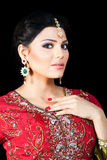 Portrait of a beautiful indian bride. Muslim Indian bride wearing a red bridal dress, portrait of a beautiful Indian bride Stock Photos