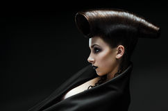 Portrait of the beautiful lady. Beautiful lady with an improbable hairdress stock photography