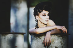 Portrait of the beautiful lady. Beautiful lady with an improbable hairdress Royalty Free Stock Photos