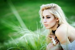 Portrait of the beautiful lady. Beautiful young woman posing over picturesque landscape Stock Photos