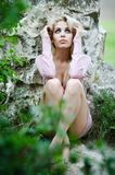 Portrait of the beautiful lady. Beautiful young woman posing over picturesque landscape stock images
