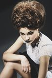 Portrait of a beautiful lady. With an improbable hairdress Royalty Free Stock Photography