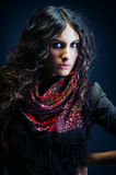Portrait of a beautiful lady with flowered scarf Royalty Free Stock Photo