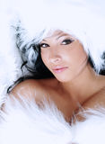 Portrait of a beautiful lady in fur Royalty Free Stock Photo