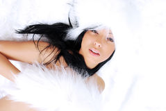 Portrait of a beautiful lady in fur Stock Photos