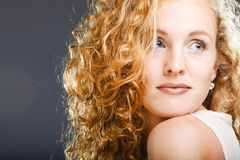 Portrait of beautiful lady on grey Royalty Free Stock Photography