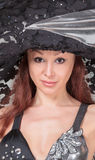 Portrait of Beautiful Lady in a Lace Hat Stock Images