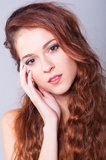 Portrait of the beautiful young lady stock photos
